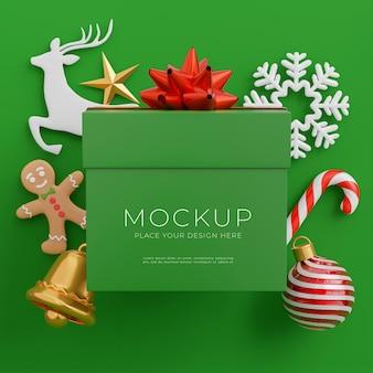 3d-render-weihnachtsgeschenkbox mit frohe weihnachten-konzept für ihre produktpräsentation