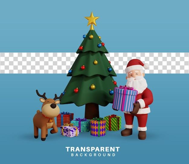 3d-render-weihnachtskonzeptillustration mit santa-charakter und rentieren