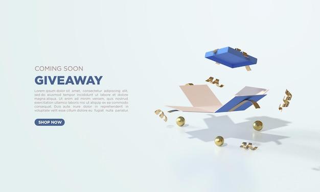 3d-render-werbegeschenk mit offener geschenkbox der illustration