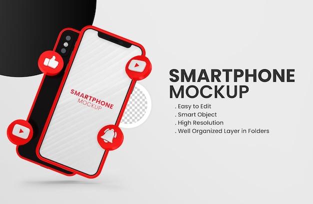 3d-render-youtube-symbol auf rotem smartphone-modell