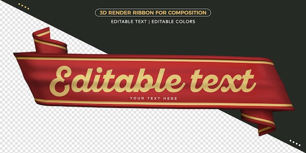 3d-renderband mit bearbeitbarem text