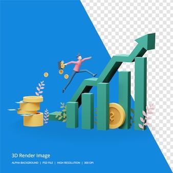 3d-renderillustration des geschäftsinvestitionskonzepts Premium PSD