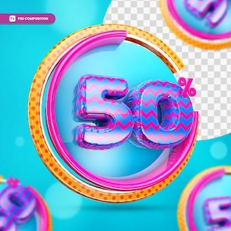 3d-rendering 50 prozent rabatt rabatt banner für den einkauf isoliert