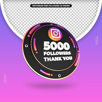 3d-rendering 5000 follower auf instagram-design