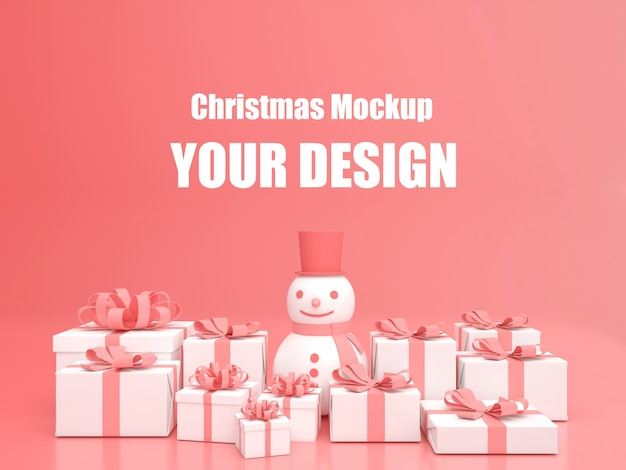 3d-rendering-anzeige pastellfarbe frohe weihnachten und ein gutes neues jahr modell
