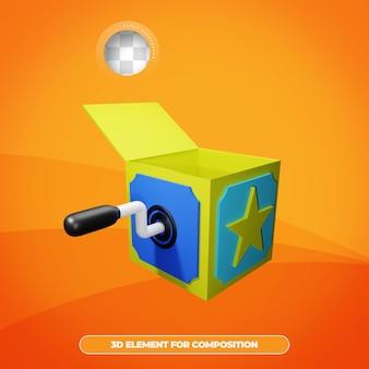3d-rendering april narren tag überraschungsbox mit emotes spaßvogel hut