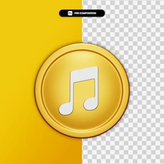 3d-rendering-audiosymbol auf goldenem kreis isoliert