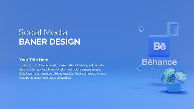 3d-rendering behance-symbol mit social-media-banner-design auf blauem hintergrund