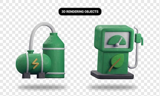 3d-rendering biogas-fabrik und öko-kraftstoff