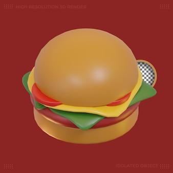 3d-rendering burger essen symbol premium-bild