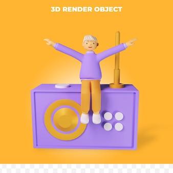 3d-rendering-charakter mit radio