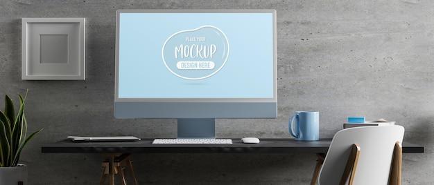3d-rendering-computertisch mit monitormodell