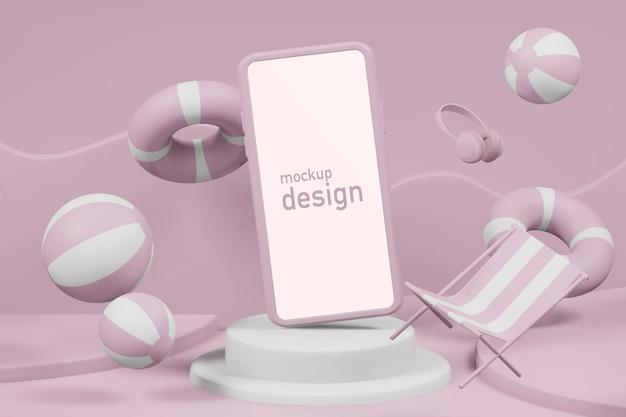3d-rendering-darstellung der sommerpodiumsbühne mit telefonmodell