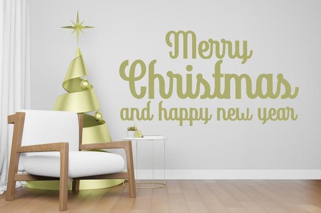 3d-rendering-darstellung des innenraummodellhintergrunds im weihnachtsthema des neuen jahres