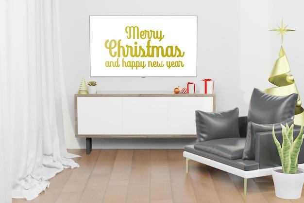 3d-rendering-darstellung des lcd-tv-bildschirmmodells im modernen innenhintergrund im weihnachtsthema des neuen jahres
