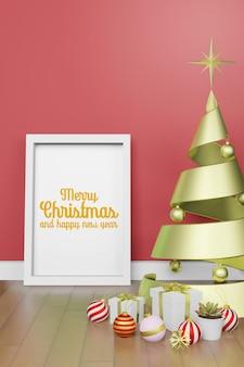 3d-rendering-darstellung des rahmenplakatmodells im modernen innenhintergrund im weihnachtsthema des neuen jahres