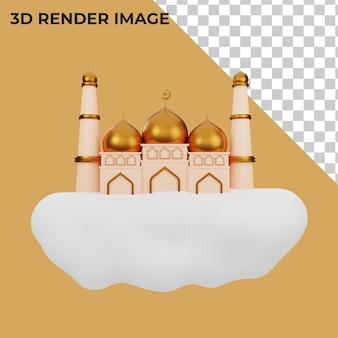 3d-rendering der dekoration mit islamischem konzept