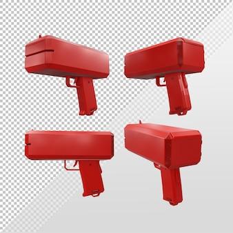 3d-rendering der geldpistole ohne geld aus verschiedenen perspektiven