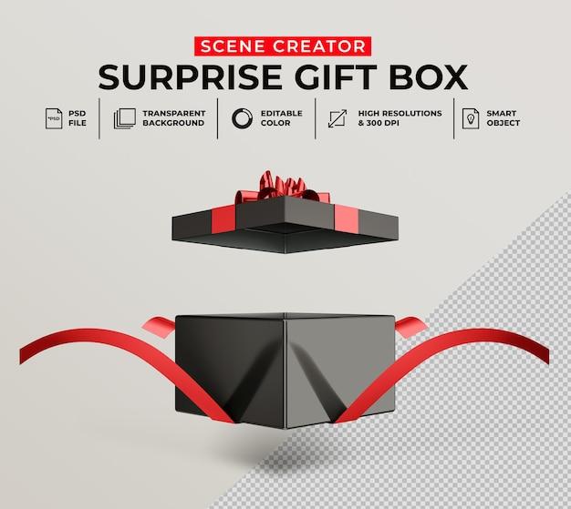 3d-rendering der geöffneten überraschungsgeschenkbox für das szenenerstellungsmodell