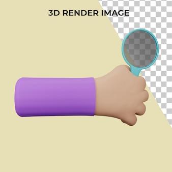3d-rendering der hand, die eine lupe hält premium-psd