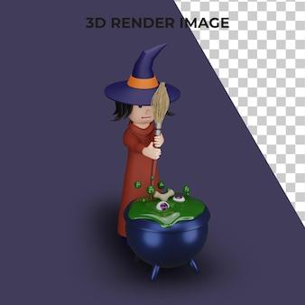 3d-rendering der hexe mit halloween-konzept