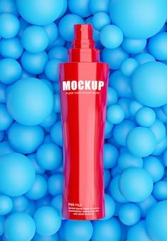 3d-rendering der realistischen kosmetikflasche mit kugelhintergrund für ihre produkte