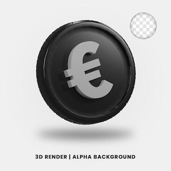 3d-rendering der schwarzen euro-münze mit glänzendem effekt isoliert. nützlich für die illustration von geschäfts- oder e-commerce-projekten.
