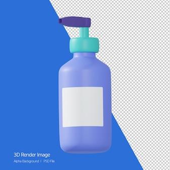 3d-rendering der seifenflasche, isoliert auf weiss.