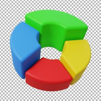 3d-rendering der tortendiagramm-designillustration