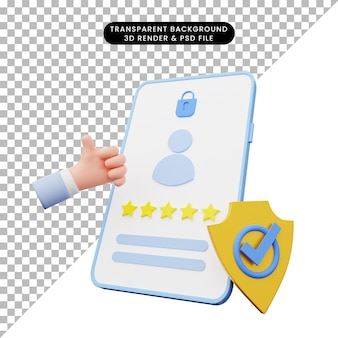 3d-rendering der ui-darstellung auf dem smartphone