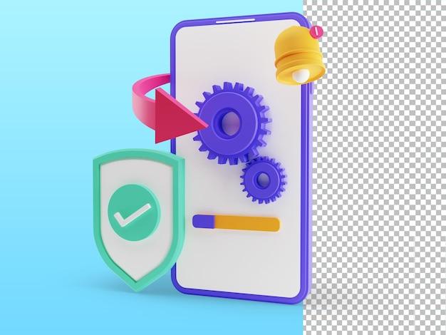 3d-rendering der verbesserung der systemaktualisierung neue version ändern installation des aktualisierungsprozesses