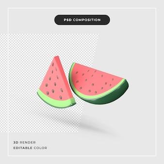 3d-rendering der wassermelonenscheibe