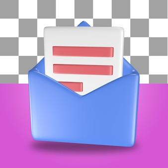 3d-rendering des blauen briefumschlags-symbolobjekts mit einem blatt finanzbuchhaltungspapier