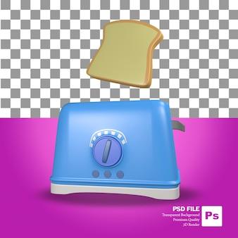 3d-rendering des blauen toasterobjekts und des schwimmenden brötchens