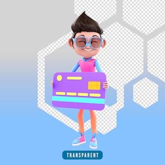 3d-rendering des charakters, der eine kreditkarte hält