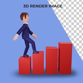 3d-rendering des charakters mit geschäftskonzept