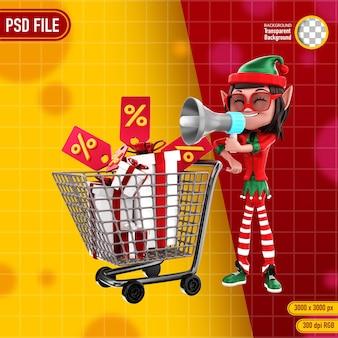 3d-rendering des elfencharakters mit einkaufswagen