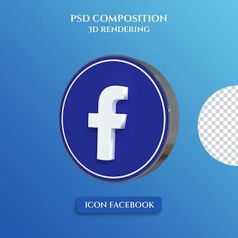 3d-rendering des facebook-logos mit silbernem metallfarbkreisstil