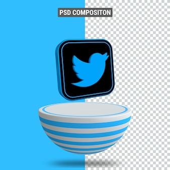 3d-rendering des facebook-symbols auf dem podium in blauem blaster