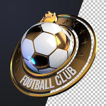 3d-rendering des fußball-fußball-emblem-grafikkonzepts