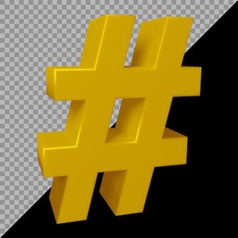 3d-rendering des hashtag-symbols