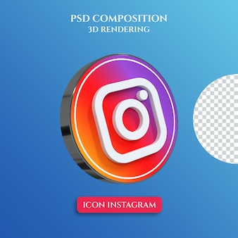 3d-rendering des instagram-logos mit silbernem metallfarbkreisstil