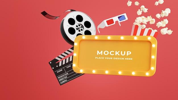 3d-rendering des kinorahmens mit popcorn, filmstreifen, klöppel, tickets und 3d-brille