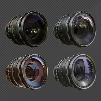 3d-rendering des klaren kameraobjektivs mit unterschiedlicher umgebungslichtreflexion
