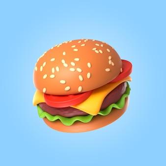 3d-rendering des köstlichen käseburgers