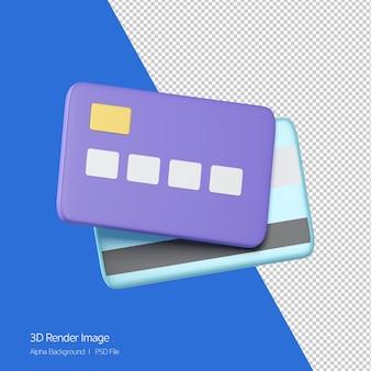 3d-rendering des kreditkartensymbols isoliert auf weiss.