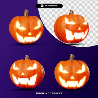 3d-rendering des kürbislaternen-halloween-konzepts mit unterschiedlichem winkel isoliert