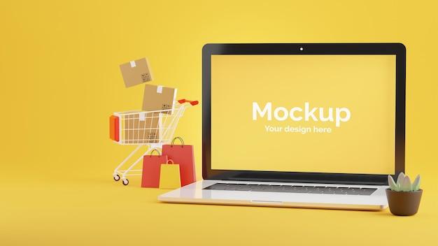 3d-rendering des laptop-geschäfts mit online-einkaufskonzept
