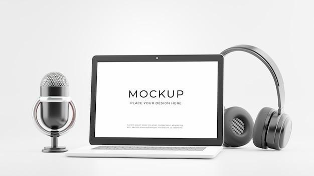 3d-rendering des laptop-mikrofon-headsets mit padcast-konzeptmodell