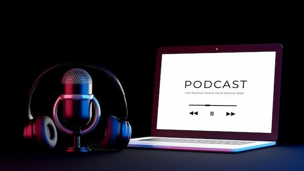 3d-rendering des laptop-mikrofon-headsets mit podcast-konzeptmodell